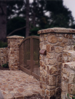 Cobblestone Wall and Walkway